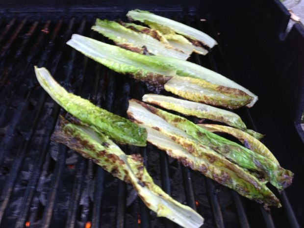 Lettuce on the grill