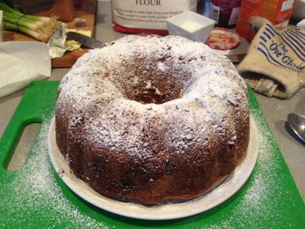 World's Best Apple Cake topped with Confectioner's SUgar