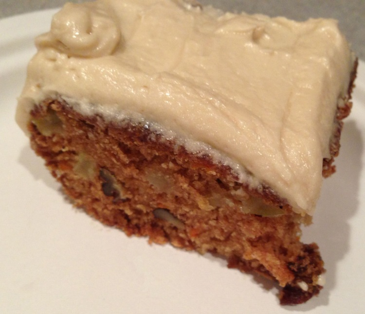 Frosted old fashioned apple cake with frosting brown sugar and brown butter