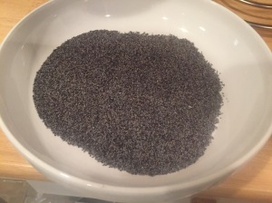 A Bowl of Poppy Seeds for Homemade bagel topping.