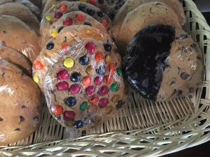 M&M Cookie, bakery tray, cookies at a bagel shop