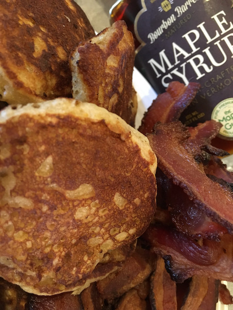 Swedish Oatmeal Pancakes with Bacon and Maple Syrup